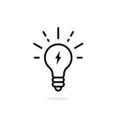 Lightning in light bulb thin line icon vector