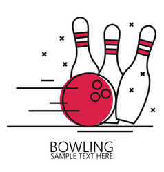 Linear style bowling ball and pins vector