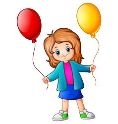 little girl holding balloons vector image