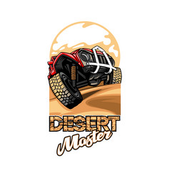 logo with name desert master with suv vector image