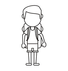 man wearing short with backpack travel thin line vector image