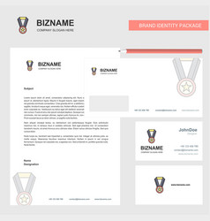 medal business letterhead envelope and visiting vector image