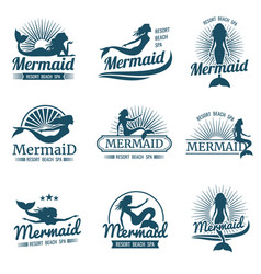 Mermaid silhouette stylized logos vector