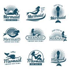 Mermaid silhouette stylized logos vector