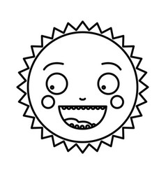 monochrome contour of caricature of the sun vector image