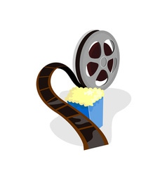 Movie Reel with Popcorn vector image