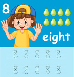 Number eight tracing worksheets vector