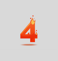 number four with red flames and sparks vector image