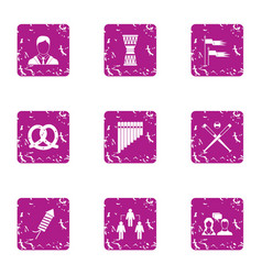 Office commander icons set grunge style vector