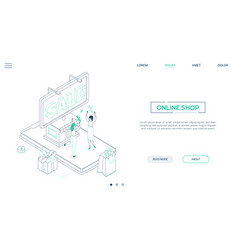 online shop - line design style isometric web vector image