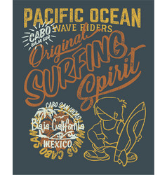 pacific ocean surfing wave rider vector image