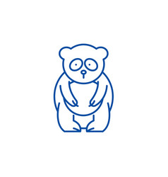 panda bear line icon concept panda bear flat vector image