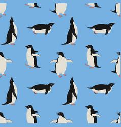penguins blue background seamless pattern vector image