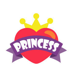 Princess party heart and crown vector