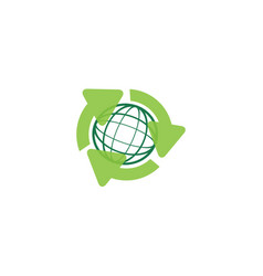Recycling arrow and globe green earth vector