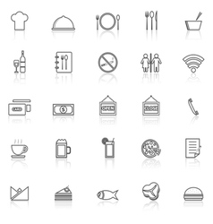 Restaurant line icons with reflect on white vector
