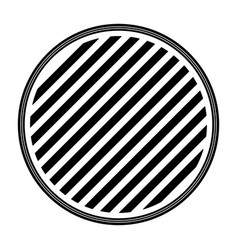 round emblem striped in monochrome silhouette vector image