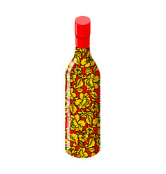 Russian vodka bottle khokhloma painting national vector