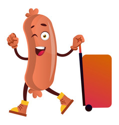 sausage with big red suitcase on white background vector image