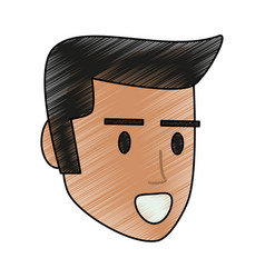 Scribble man profile vector