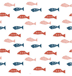 seamless pattern with school fish vector image