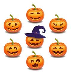 set bright colorful halloween pumpkins face vector image