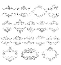 set - calligraphic design elements vector image