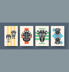 Set contemporary art posters with ritual masks vector