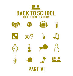 Set gold school and education icons vector