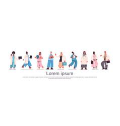 set male female doctors in uniform mix race vector image