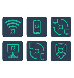 set of icons about online payments with currency vector image