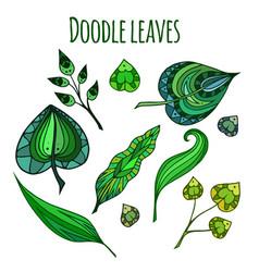 set of patterned doodle green leaves element for vector image