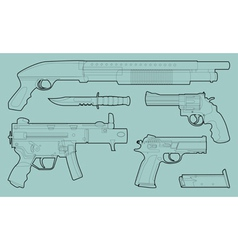 Set outlined various weapons vector