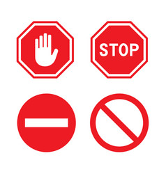 set stop signs vector image
