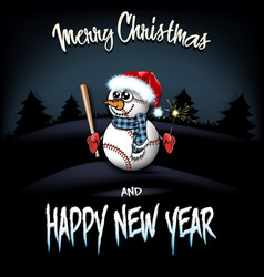 Snowman from baseball balls with bat and sparklers vector