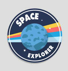 space explorer earth circle frame background vector image