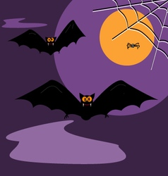 Spider black bat flying in the dark sky halloween vector