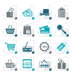 stylized shopping and website icons vector image