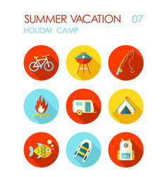 Summer camping flat icon set holiday vector