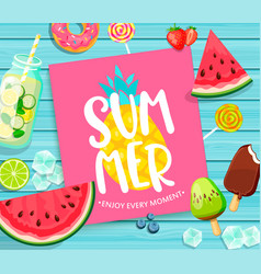 Summer lettering on blue wooden background vector