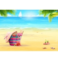 summer with a beach bag in sand vector image