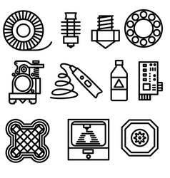 thin line 3d printing web icons set vector image