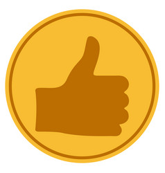 Thumb up gold coin vector
