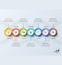timeline business infographic template 7 steps vector image