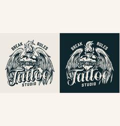 vintage tattoo studio emblem vector image