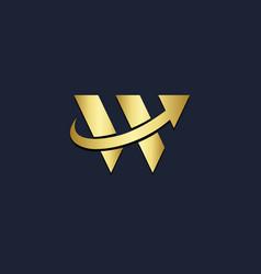 W letter shape arrow gold logo vector