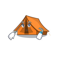 Waiting gesture camping tent scroll on cartoon vector