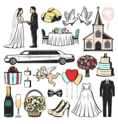 wedding icons of marriage gift heart and love vector image