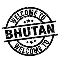 welcome to bhutan black stamp vector image