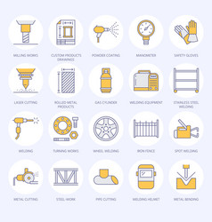 Welding services flat line icons rolled metal vector